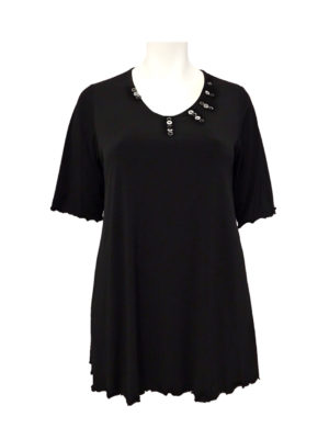 Hayley Joy Miracle Short Sleeve Shape Top / Black & White Button Detail