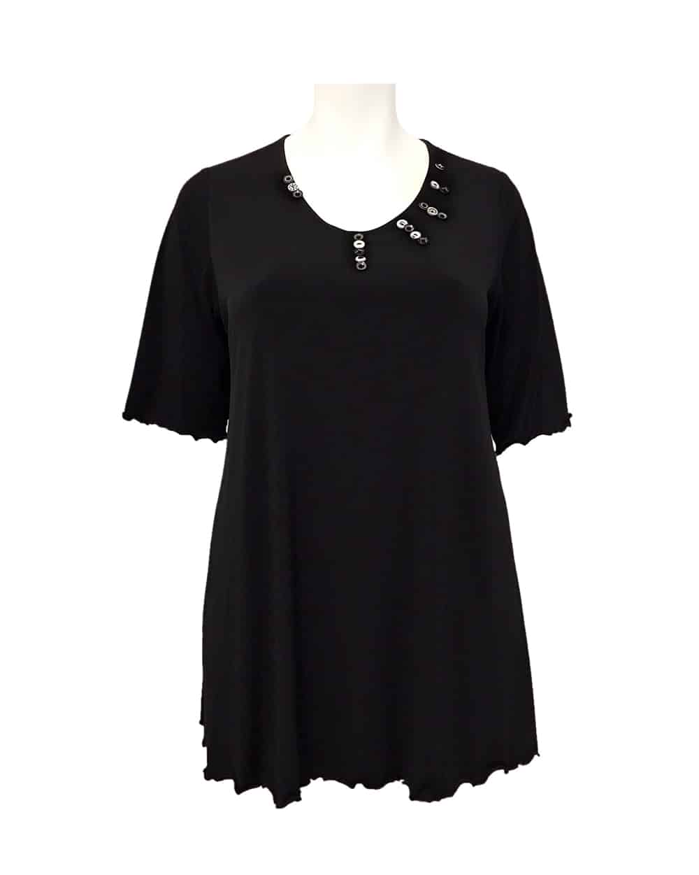 Hayley-Joy-Miracle-Short-Sleeve-Shape-Top-Black-White-Button-Detail-1-1000