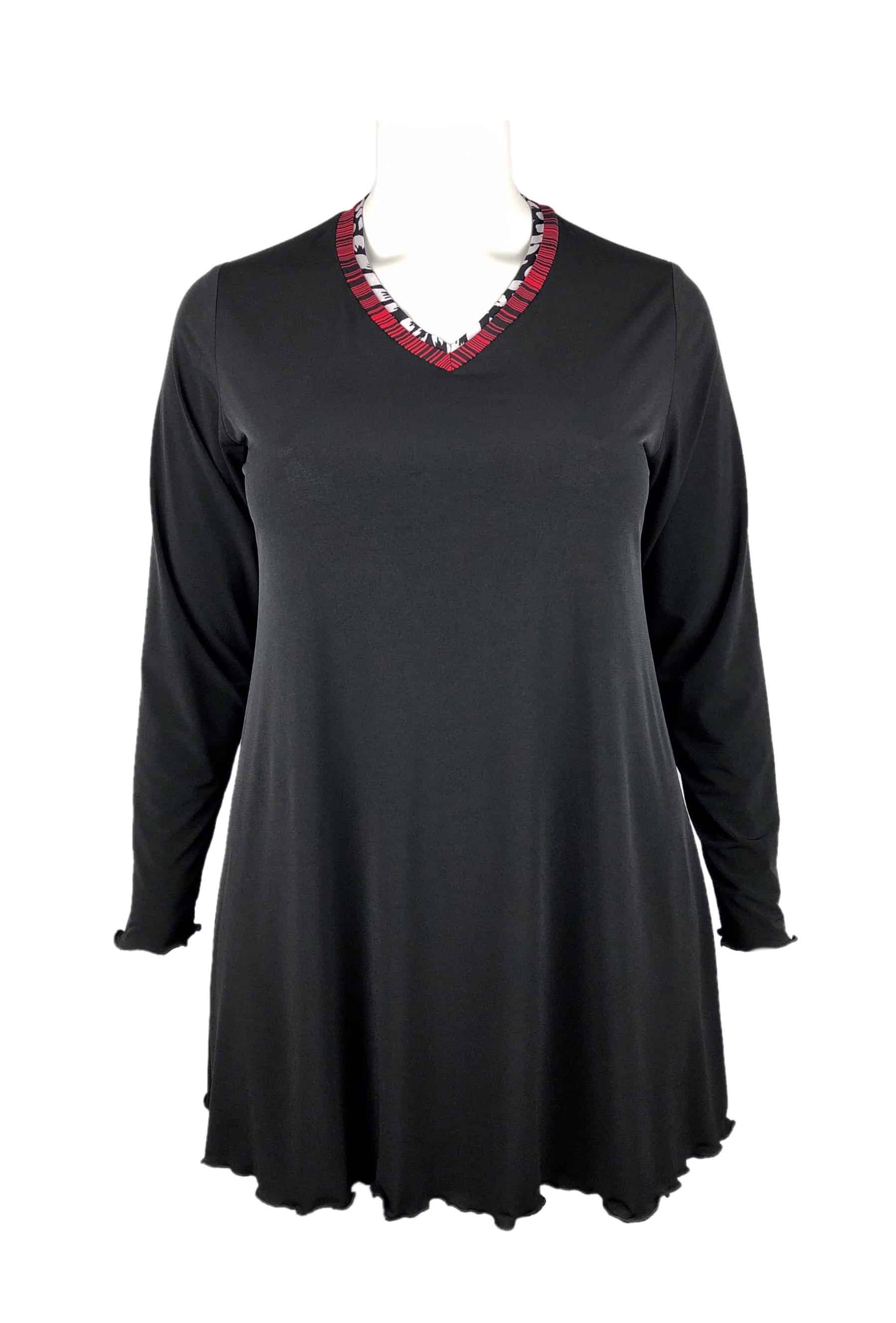 Miracle Top Double V-Neck Black & Red Stripe